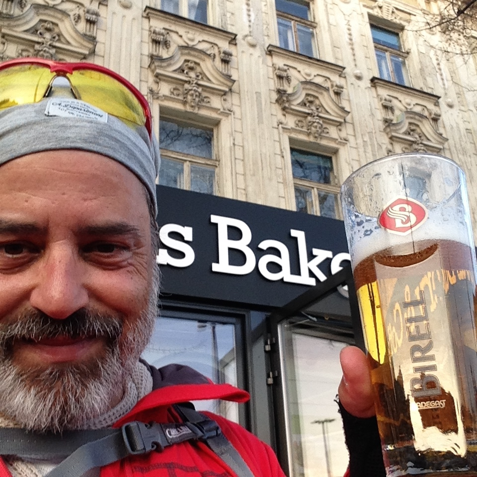 The first beer at Bratislava. And after 77 km it was deserved.