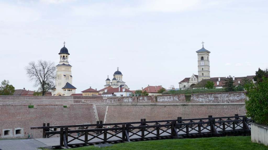 The citadel, FORTRESS at Alba Iulia with the Catholic and Orthodox Churches in the Background.