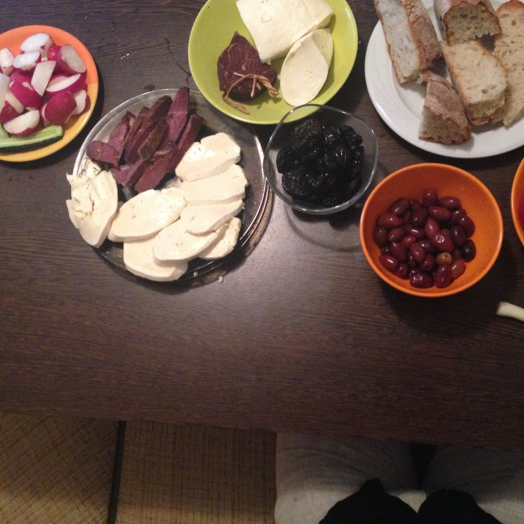 Iulian's welcome meal! Homemade cheese and Pastrami.