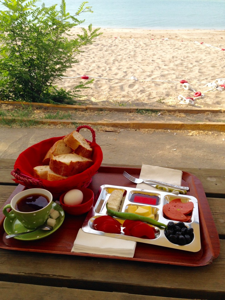 Breakfast at seaside. Motocamp, Silivri