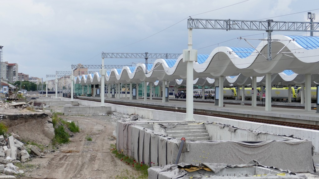 Growing infrastructure in Turkey. Railway station in Eskisehir.