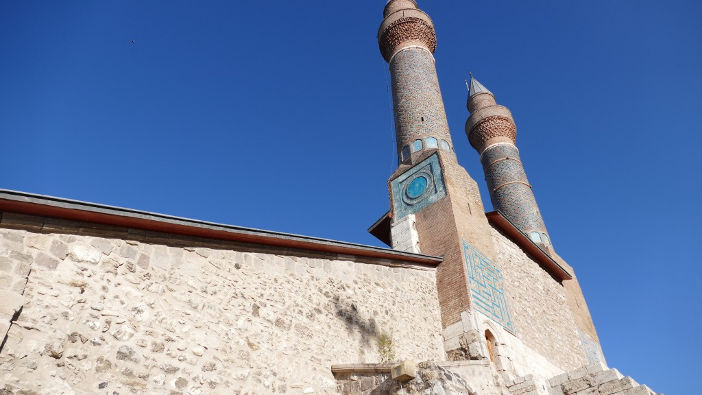 "Madrassah with ""Twin MInarats"" build in 1272- Old Town - SIVAS, Anatolia  Madras's where / are schools. Pupils studies there Calligraphy, Astronomie, Mathematics, Philosophy and of course religion, Islam, as well."