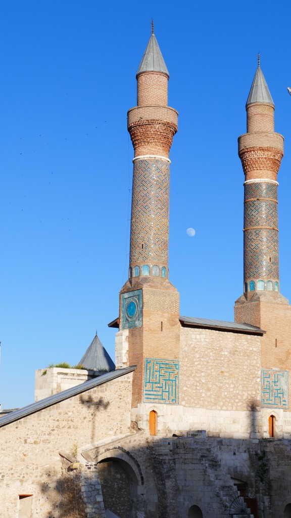 Madrassah wit twin minarets. Old Town - SIVAS, Anatolia  Madrassah's where / are schools. Pupils studies there Calligraphy, Astronomie, Mathematics, Philosophy and of course religion, Islam, as well.