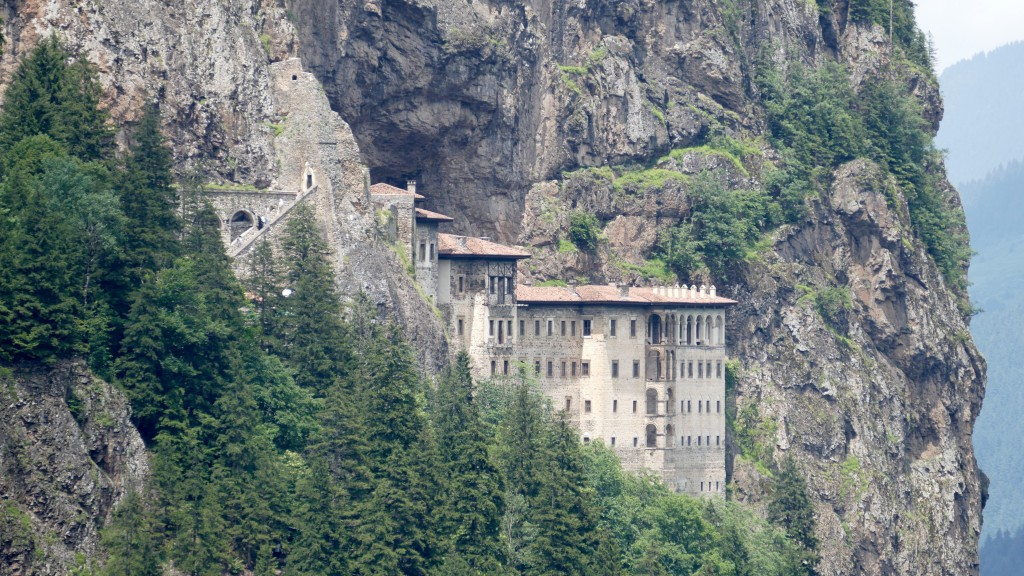 The Sumela Monastery (Turkish: Sümela Manastırı) is a Greek Orthodox monastery dedicated to the Virgin Mary at Melá Mountain  within the Pontic Mountains range, in the Maçka district of Trabzon Province in modern Turkey. Nestled in a steep cliff at an altitude of about 1,200 metres (3,900 ft) facing the Altındere valley, it is a site of great historical and cultural significance, as well as a major tourist attraction within Altındere National Park.
