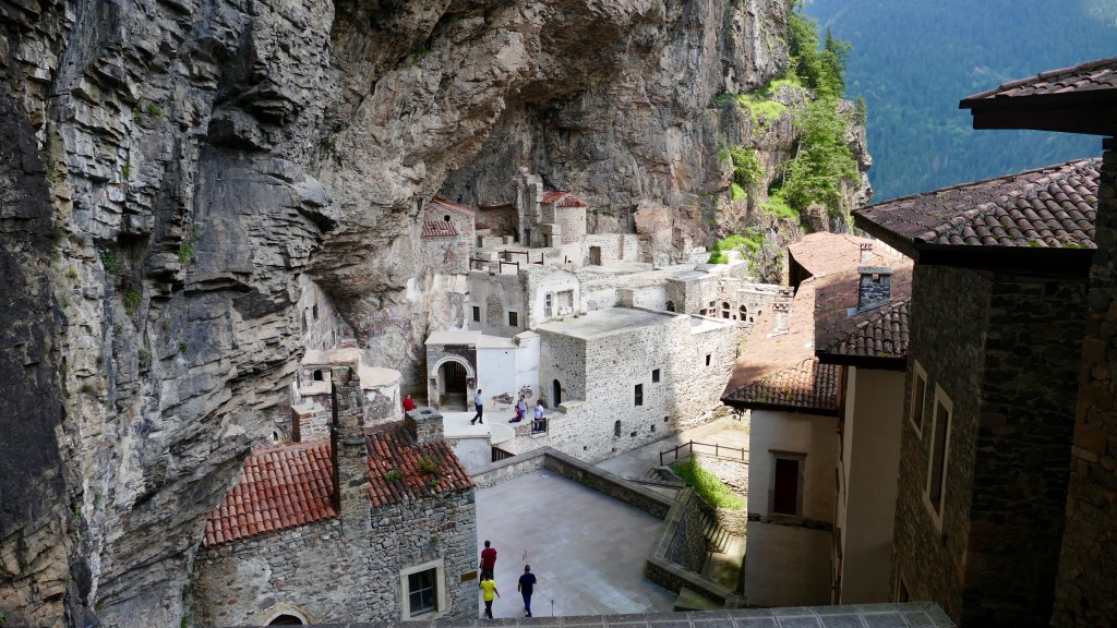 The principal elements of the Monastery complex are the Rock Church, several chapels, kitchens, student rooms, a guesthouse, a library, and a sacred spring revered by Eastern Orthodox Christians.