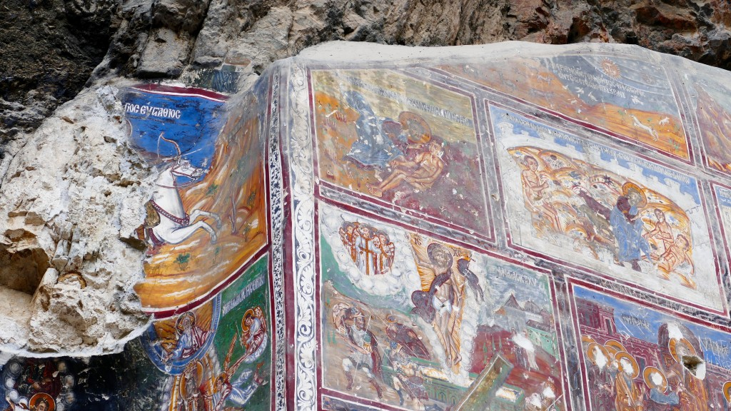 The inner and outer walls of the Rock Church and the walls of the adjacent chapel are decorated with frescoes. Frescoes dating from the era of Alexios III of Trebizond line the inner wall of the Rock Church facing the courtyard. The frescoes of the chapel which were painted on three levels in three different periods are dated to the beginning of the 18th century. The frescoes of the bottom band are of superior quality.