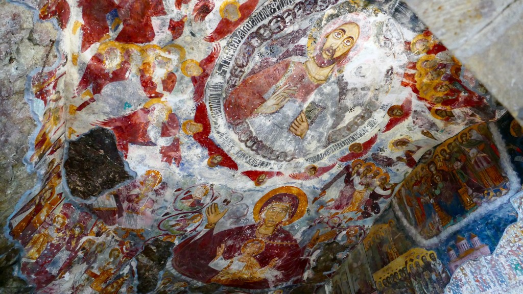The main subject of the frescoes are biblical scenes telling the story of Christ and the Virgin Mary.