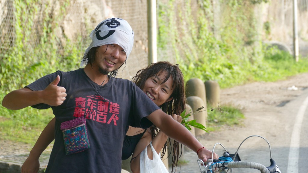 A Japanese couple, cyclists as well, heading Turkey and Europe