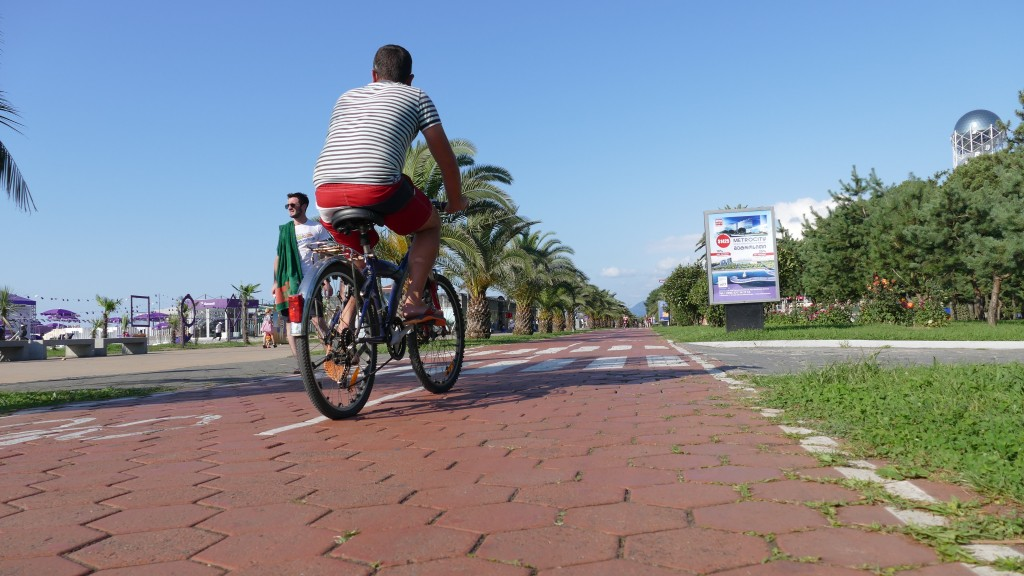 the boulevard in Batumi and the cycleways.