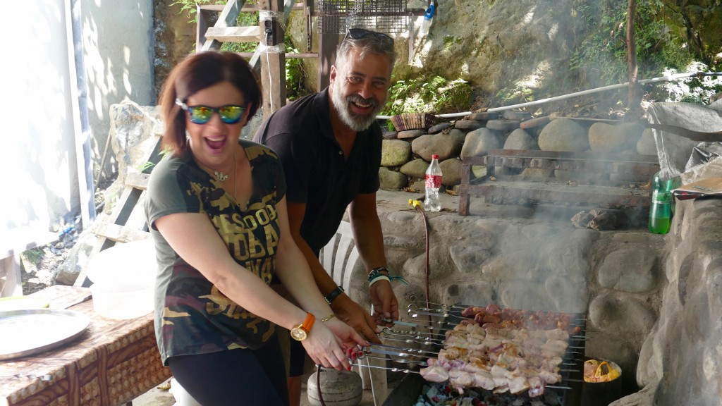 Preparing Shashlik with the Staff of Batumi Surf Hostel. A great day at Batumi's surrounding.