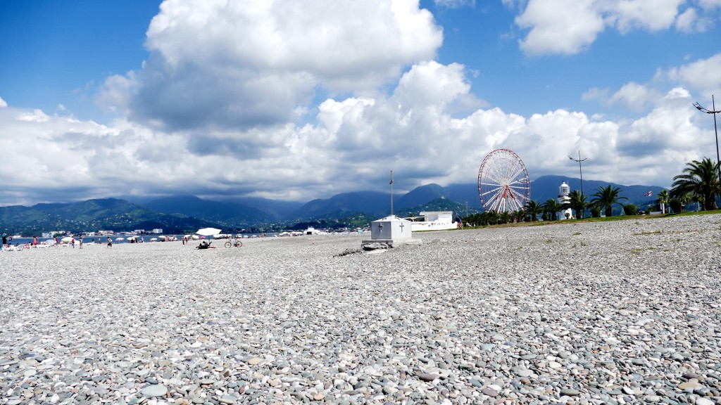 Batumi's beach, Mounts in the background and lighthouse