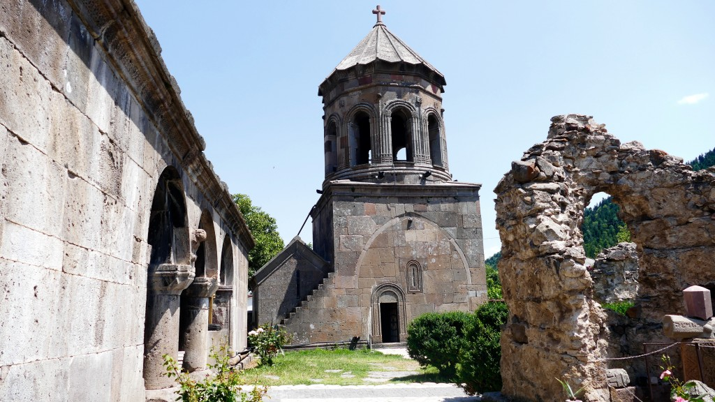 The Zarzma Monastery of Transfiguration  is a medieval Orthodox Christian monastery located at the village of Zarzma in Samtskhe-Javakheti region. The Zarzma monastery is nested in the forested river valley of Kvabliani. It is the complex of a series of buildings dominated by a domed church and a belfry, one of the largest in Georgia.