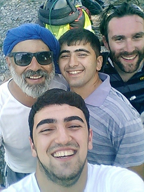 Gwydion, me and two kind Azeris on the Road to Ismayilli
