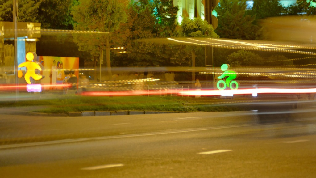 Bike 4 Happiness in Tbilisi, Georgias capital city by night. Here the famous Rushtaveli Ave.