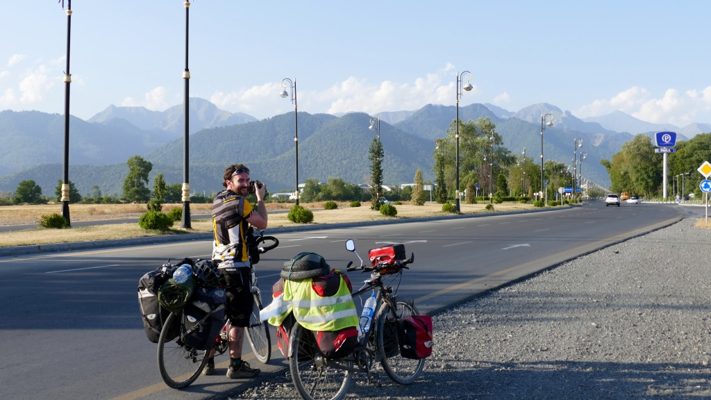 Arrival to Cabala. In the background the greater Caucasus