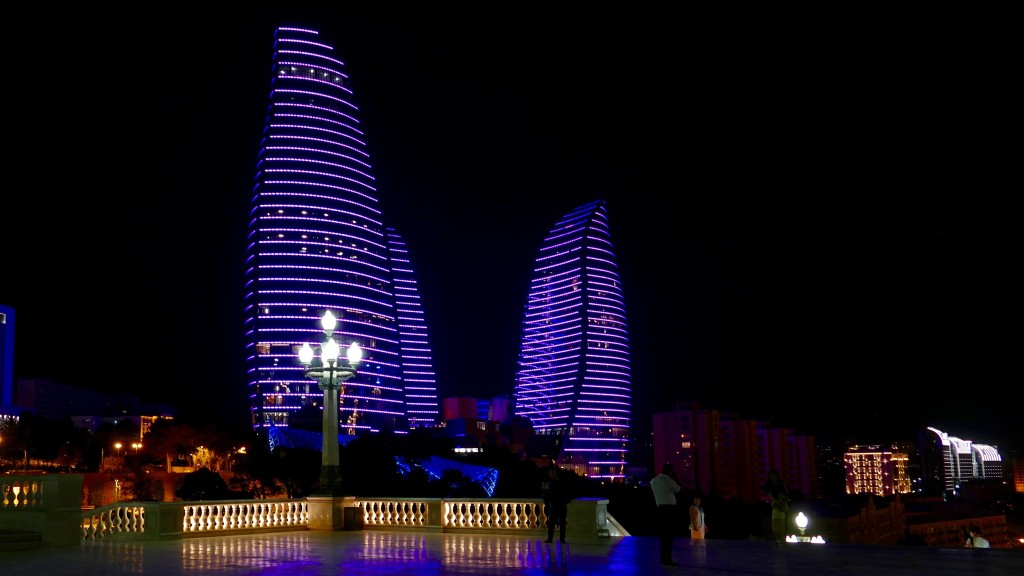 The FLAME TOWERS in BAKU, they are abel to change their color, to project moving images and text, using LED Technology. The yearly cost is around 3 and 4 million USD