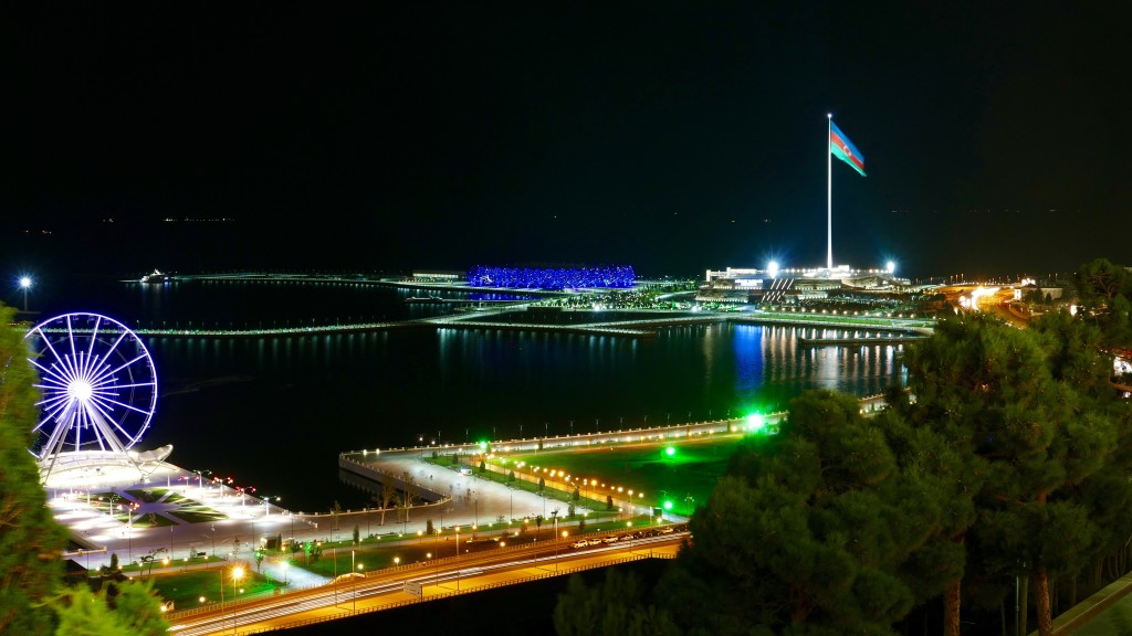 BAKU by night. The Flag square. The Azerbaijan flag misers 70 x 30 meters.