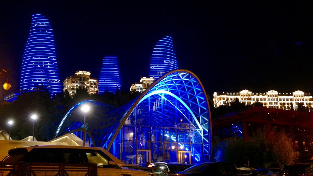 Baku by night and another view of the Flame Towers.