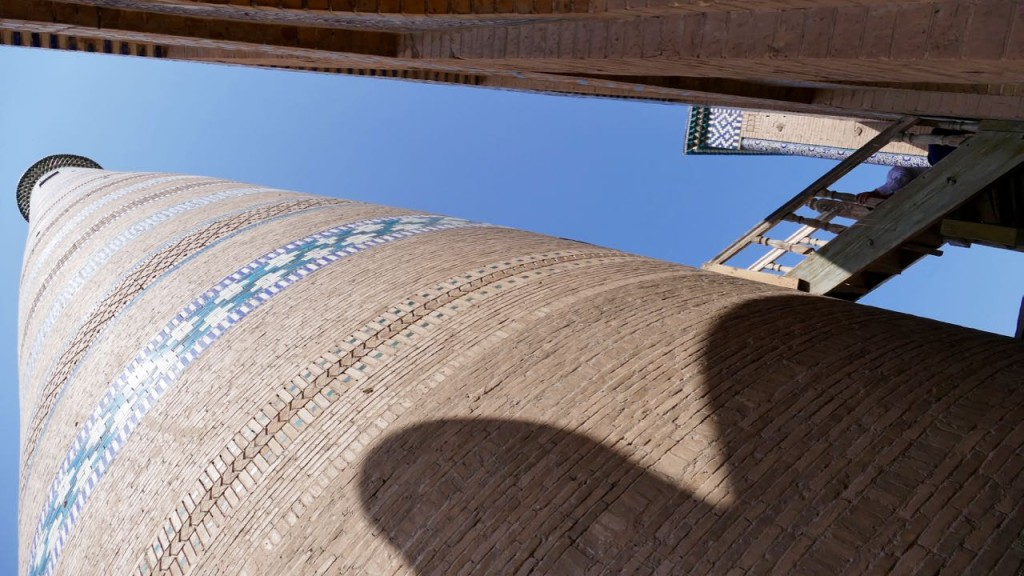 Islam Khoja Minaret. The minaret is 45 m high and 10 m wide atb its base. It was built in 1908, however using the same methods as the much older minarets at Bukhara, Wabkent and Konye Urgench. You can see the minaret from every place in Khiva and even from far away in the desert. It is probable that the minaret served military purposes as well.