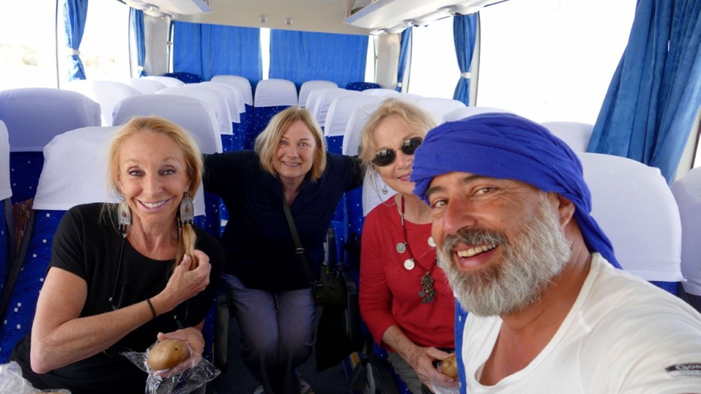 Three of the nice american ladies who gave me a lift to Bukhara. Maja, Shelby and