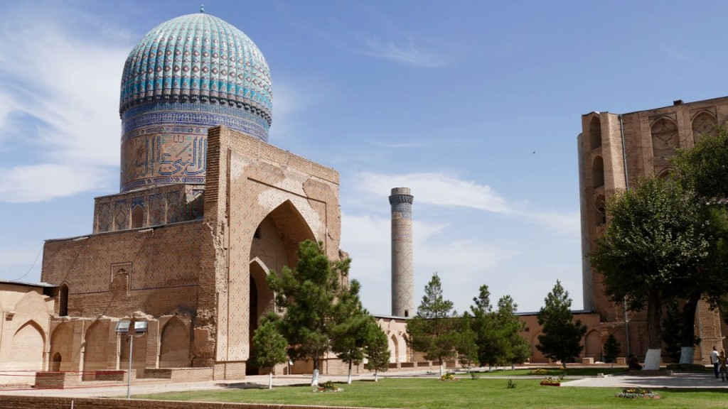 The majestic blue domes of the Bibi-Khanym Mosque are the unusual sight.It takes one's breath even from understanding the scale of construction of this monument, impressing with its size and beauty. In antiquity the dome of this mosque was compared with the dome of heaven and the arch of portal – with the Milky Way.