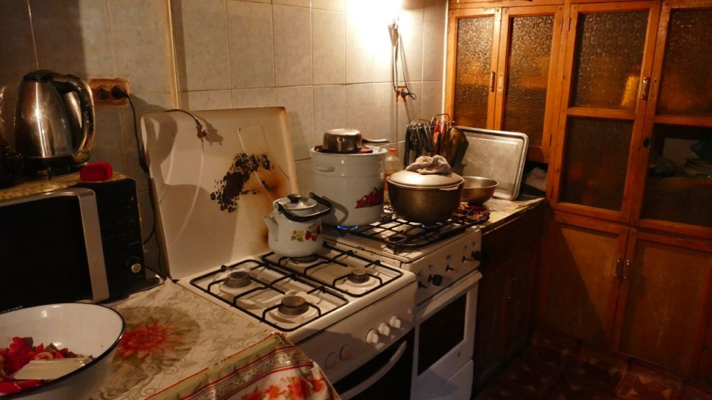 the Kitchen at Bohudir Hostel in Samarkand
