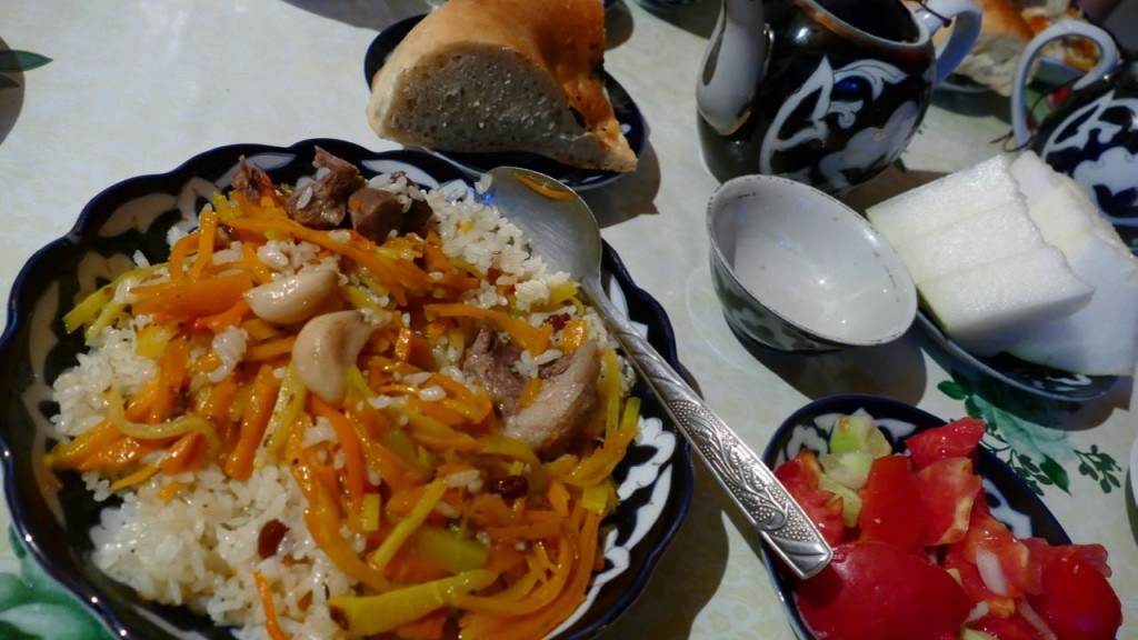 Plov, the most typical dish in Uzbekistan.